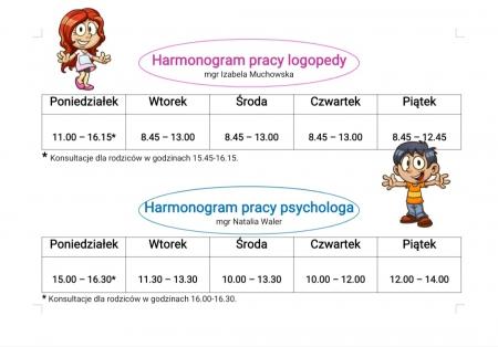 Godziny pracy Psychologa i Logopedy